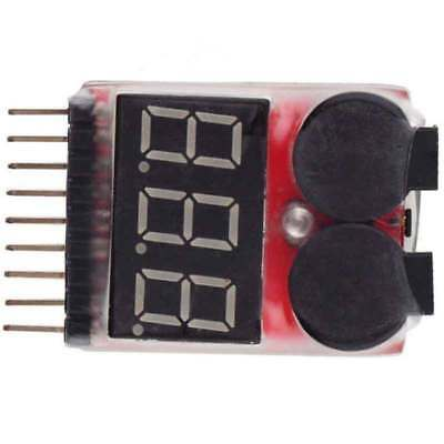1-8S 2 in1 RC Li-ion Boat Lipo Battery Low Voltage Meter Tester Buzzer Alarm US