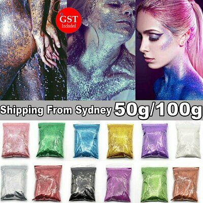 50-100g Fine Glitter Powder Dust Holographic Iridescent Metallic Body Nail Art