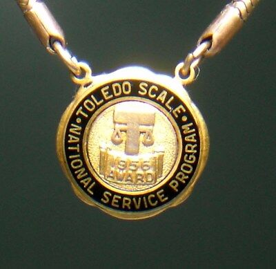 Vtg. Gold Filled TOLEDO SCALE Co. emblem Tie clip chain employee service award