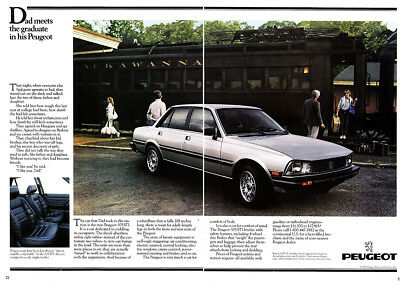 1984 Peugeot: Dad Meets the Graduate Vintage Print Ad