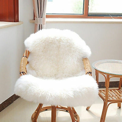 AU Soft Sheepskin Rug Chair Cover Warm Hairy Carpet Seat Plain Skin Fur Plain