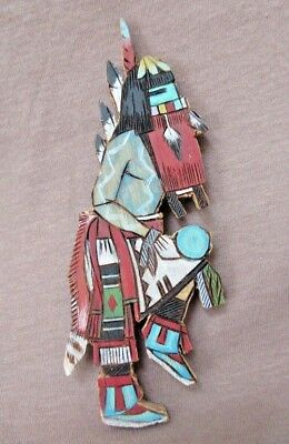 Zuni Hand Cut & Painted Cedar wood Long Hair Kacina Magnet by E. Sanchez  M0143