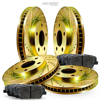 FULL KIT Car & Truck Parts Auto Parts and Vehicles BLACK HART DRILLED SLOTTED BRAKE ROTORS AND CERAMIC PAD BHCC.51034.02