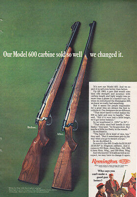 1968 Remington Model 600: Carbine Sold So Well We Changed It Vintage Print Ad
