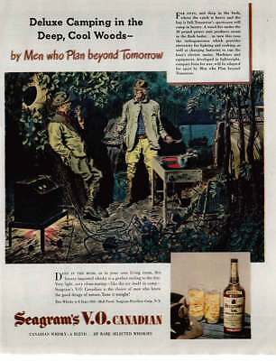 1946 Seagrams VO Canadian Whisky: Deluxe Camping Vintage Print Ad