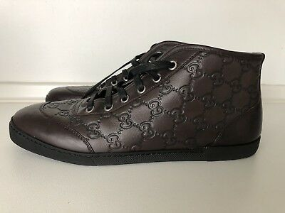 Gucci Dark Brown leather Guccissima lace up ankle boots 39.5 USED