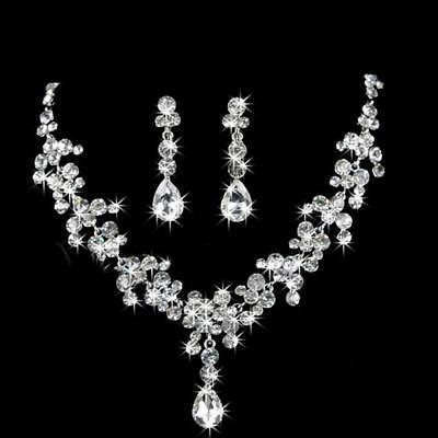 Prom Wedding Bridal Jewelry Crystal Rhinestone Necklace Earring Set Gift DH