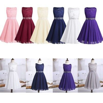 Kids Princess Baby Flower Girl Dress Lace Chiffon Party Gown Bridesmaid Dresses