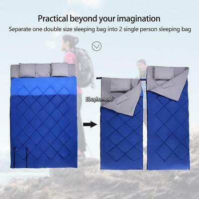 Portable Outdoor Travel Camping Hiking Envelope Sleeping Bag w/ Pillow 2 EHE8