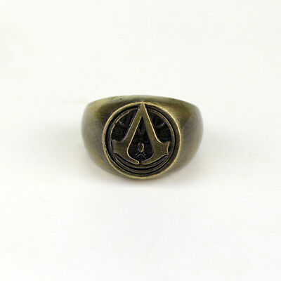 Assassins Creed Master Ring Anime Cosplay Accessories Antique Bronze Plated Men