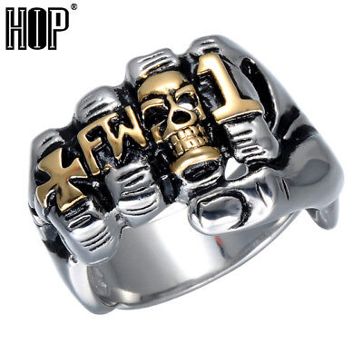 Hip Cool Fist Finger Biker Ring Punk Gothic Gold Silver Titanium Stainless Steel