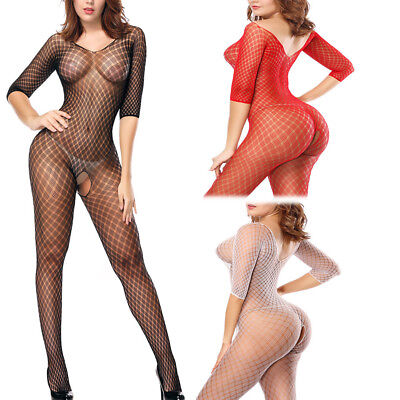 Sheer Half Sleeve Diamond Check Fishnet Crotchless Bodystocking Catsuit Lingerie