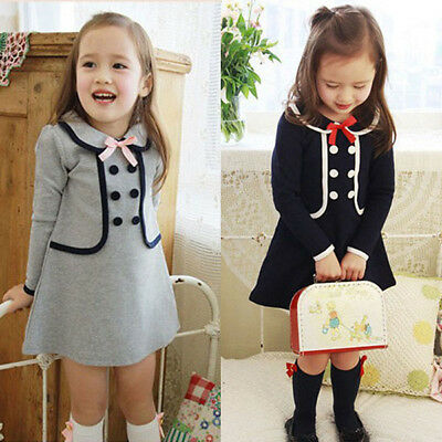 Toddler Kids Baby Girl Winter Trench Coat Hooded Button Outerwear Jacket Dress
