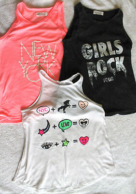 3X Girls H&M vest tops (pink, white & black), size 10-11 years