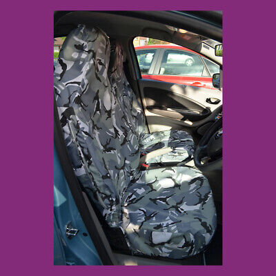 Renault Zoe 2012+ Tailored Waterproof Front Pair Grey Camouflage Seat Covers