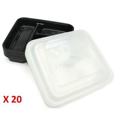 20pc Microwave 3 Compartment Plastic Lunch Box Food Storage Meal Prep Container
