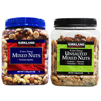 KIRKLAND Salted/Unsalted Mixed Nuts 1.13kg Almonds Cashews Pistachios Pecans