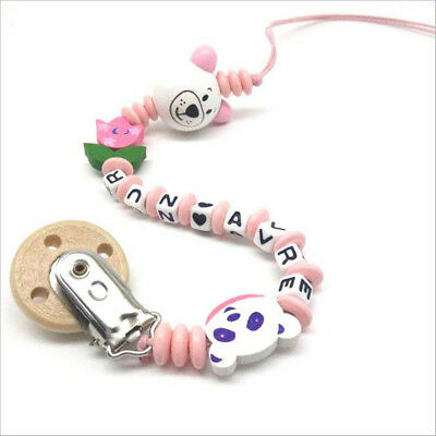 1pcs Wood Pacifier Clips letter beads Beaded Pacifier Chain Baby molar toy