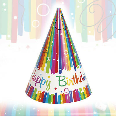Happy Birthday Rainbow Party Hats Kids Paper Children Boys Girls Adults 8 Pack