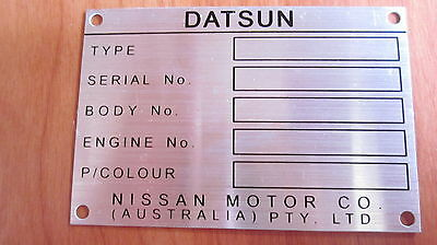 Datsun 1200 1600 180B 200B 120Y Australian Assembled chassis plate ID tag blank