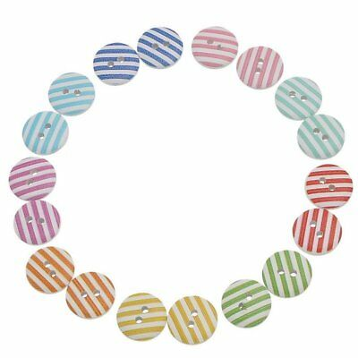 """90Pcs Wood Buttons Stripe Pattern 2 Holes Round Mixed 15mm( 5/8"""") P7Z8"""