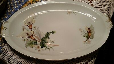 """Ivory China Made in Japan Meito Vintage Large 17"""" Serving Tray -Lilly Pattern"""