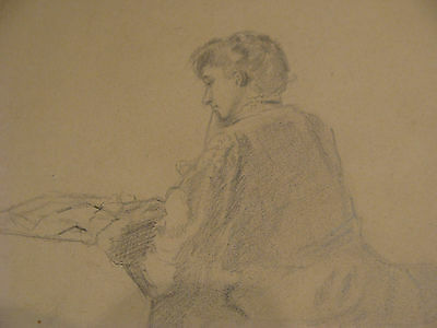 vintage Drawing: LADY SITTING LOOKING AT TABLE (newspaper or puzzle ) ?
