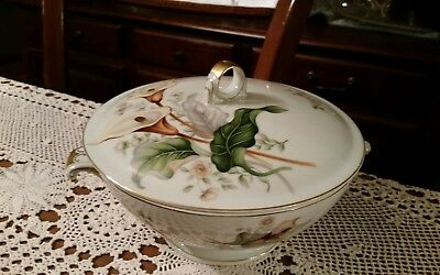 Ivory China Made in Japan Meito  Vintage 2-Piece Covered Vegetable-Lilly Pattern
