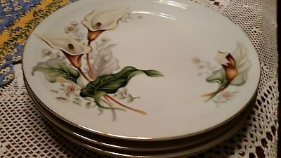 """FOUR Ivory China Made in Japan Meito  Vintage 10"""" Dinner Plates Lilly Pattern"""