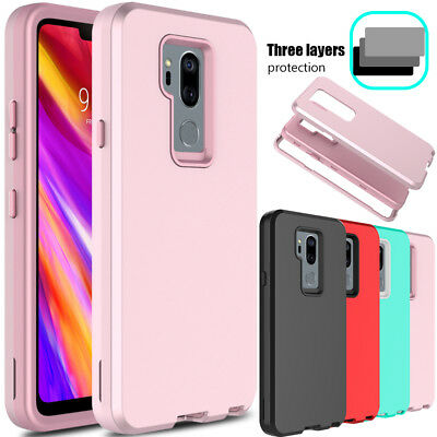 For LG G7 ThinQ Shockproof Hybrid Rubber Hard Rugged Armor Full Phone Case Cover