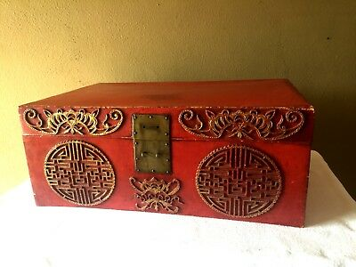 Vintage Antique Asian Chinese Red Lacquer Leather Trunk Chest Box Large