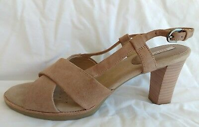 f252a9863ced Womens Ladies Geox Beige Suede Summer Evening Heeled Sandals Size 6 39 New