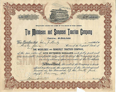 NEW JERSEY  1900, Middlesex & Somerset Traction Company Stock Certificate #27