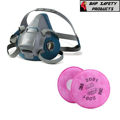 3M 6500Ql Series Quick Latch Half Mask Respirator W/ 2091 P100 Dust Filters