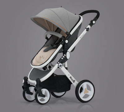 Allis Pushchair City Buggy Baby Pram Stroller Newborn Travel System 2in1 - Grey