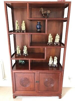 Chinese Rosewood 6/4 Seater Dinning Table & Rosewood Display Cupboard
