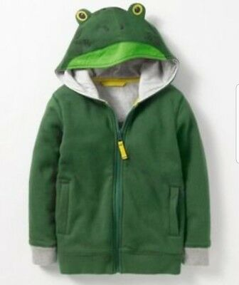 A16# Mini Boden Novelty Zip Up Hoodie Green Age 7-8