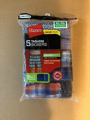 Hanes Mens Comfort Flex Waistband 5-pack Woven Boxers Cotton/Polyster