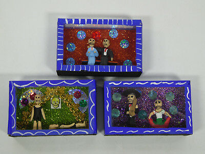 3 SHADOW BOX SET day of the dead nicho lot wholesale mexican handmade folk art