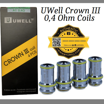 UWell Crown 3 Parallel Heads 0,4 Ohm original 4er Pack Coils Verdampferköpfe