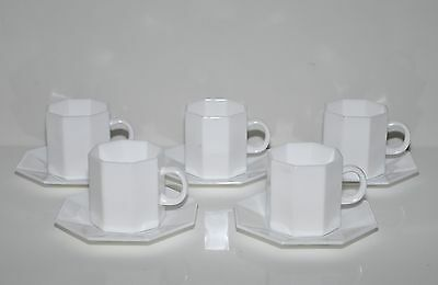 ARCROPAL retro white milk glass set of 5 cups and saucers. Made in France