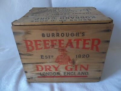 "Vintage Burroughs Beefeater Gin Wood Crate Box London England 14""x 10.5""x 12"""