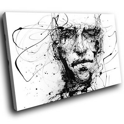 ZAB193 Black White Face Cool Modern Canvas Abstract Wall Art Picture Prints