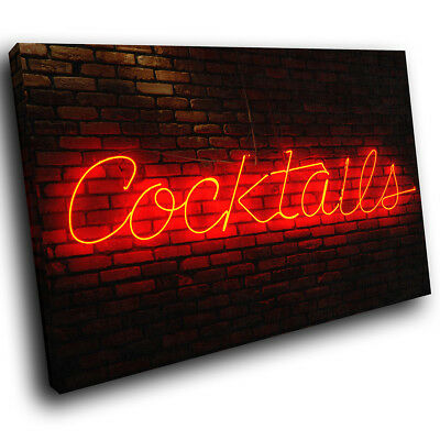 ZAB125 Red Neon Cocktails Modern Canvas Abstract Home Wall Art Picture Prints
