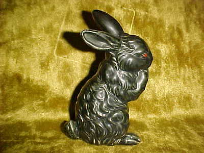 Vintage Bunny Rabbit Figurine OLD FASHIONED LOOK,  Black Pottery Easter  OS282