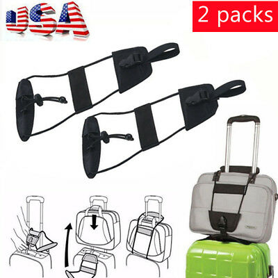 2PCS Adjustable Add A Bag Strap Travel Luggage Suitcase Belt Carry On Bungee New