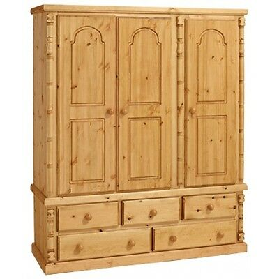 Cheltenham Solid Antique Pine Triple 5 Drawer Wardrobe No Flat Packs No Assembly