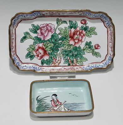 2 handpainted Enamel Dishes - China 2. H. of 20th C.       #as205