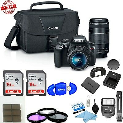 Canon EOS Rebel T6 DSLR Camera with 18-55mm and 75-300mm Lenses Bundle