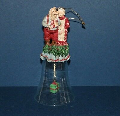 """Vintage Santa & Mrs. Claus Collector Christmas Bell Ornament 5.5"""""""